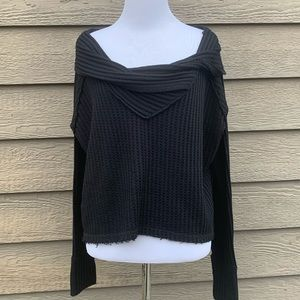 We The Free Black Slouchy Crop Sweater Top xs